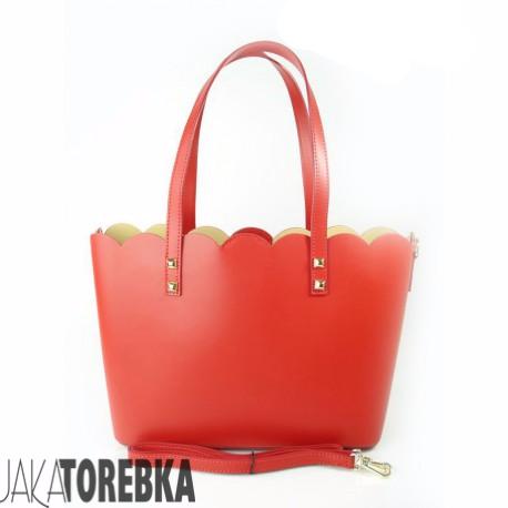 58aaa4b1f52d8 Torebka Włoska Skóra Shopper Bag Czerwona - JakaTorebka.pl