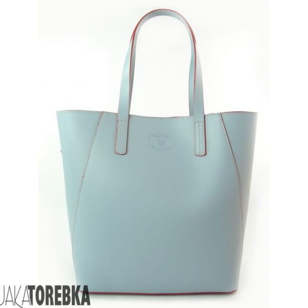 bdbd70e0de2b1 Duża torba shopper bag - włoska skóra naturalna Niebieska - Baby Blue