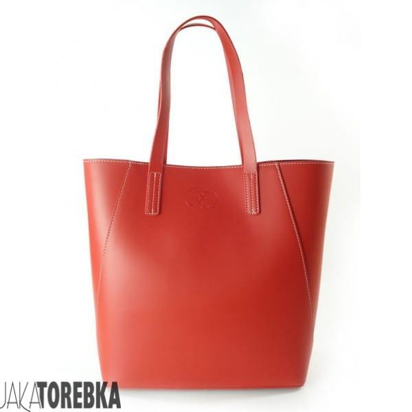 ba2c1eb39dd86 Duża torba shopper bag - włoska skóra naturalna Czerwona