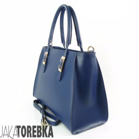 93827e52c676d Elegancka Włoska Torebka z Naturalnej Skóry Blue Jeans - JakaTorebka.pl