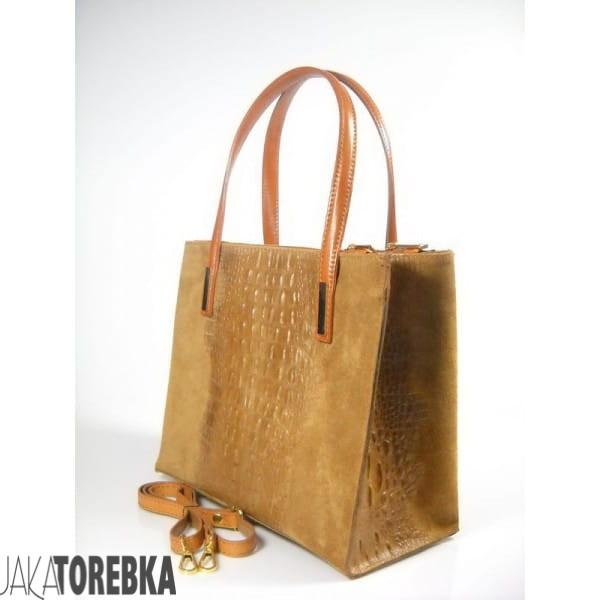 337ad55abd934 Elegancki włoski kuferek ze skóry zamszowej Camel - JakaTorebka.pl