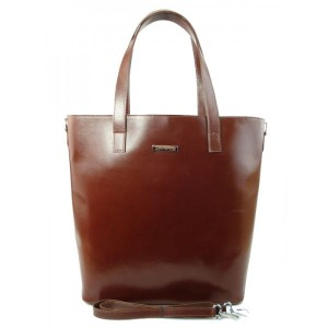WŁOSKA TORBA SHOPPER BAG BRĄZOWA