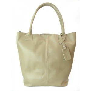 SKÓRZANA TOREBKA SHOPPER BAG XXL  REAL LEATHER WOREK  A4 BEŻ  S6BT