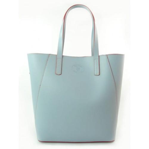 2d5388710a16 Duża torba shopper bag - włoska skóra naturalna Niebieska - Baby Blue