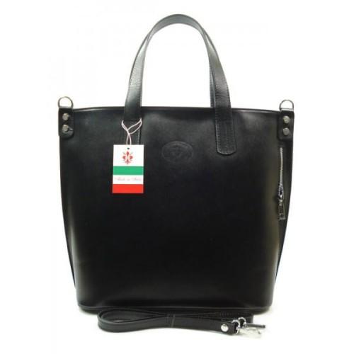 755e612b41410 Włoska duża damska torba shopper bag Czarna - JakaTorebka.pl