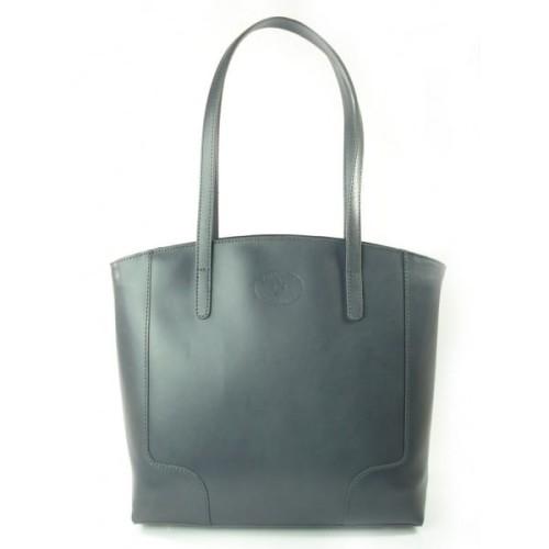637972d8e0e6a Duża torba na ramię Vera Pelle xxl shopper bag włoska skóra szara jasna  SB633G