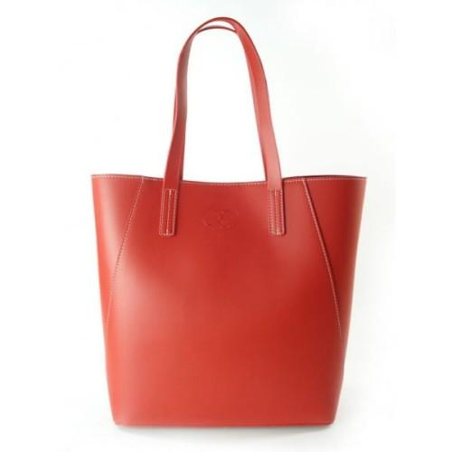 8597b8210a01c Duża torba shopper bag - włoska skóra naturalna Czerwona ...