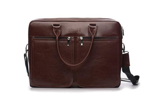 250e03bf2bbb2 Męska skórzana torba na ramię na laptopa Bordo - JakaTorebka.pl